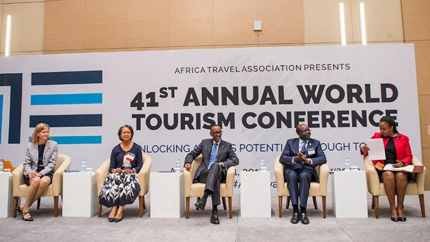 President Kagame with top officials at the Annual World Tourism Conference in Kigali yesterday. Left-right; US Ambassador to Rwanda Erica Barks-Ruggles,  Florizelle Liser, the CEO ....