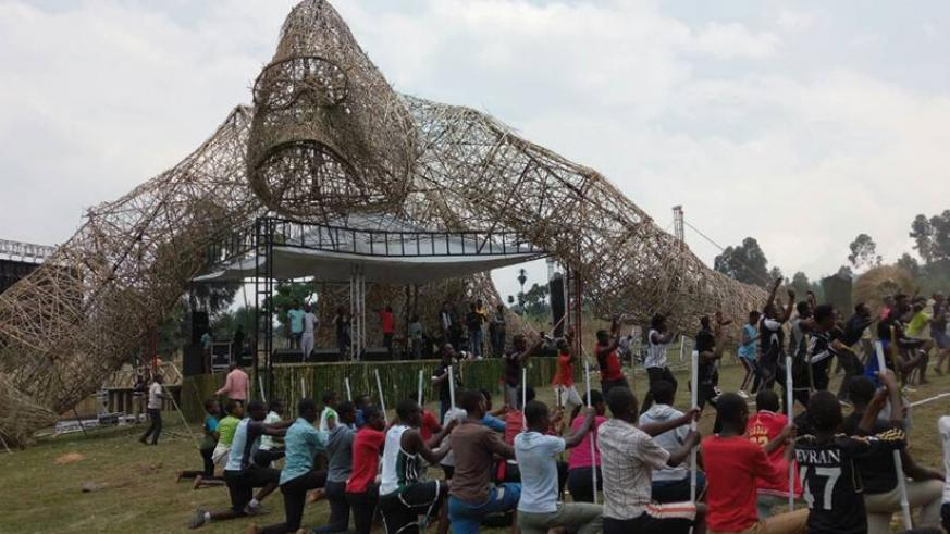 Performers go through final drills on Thursday ahead of the Kwita Izina event to be held Friday. A. Tashobya