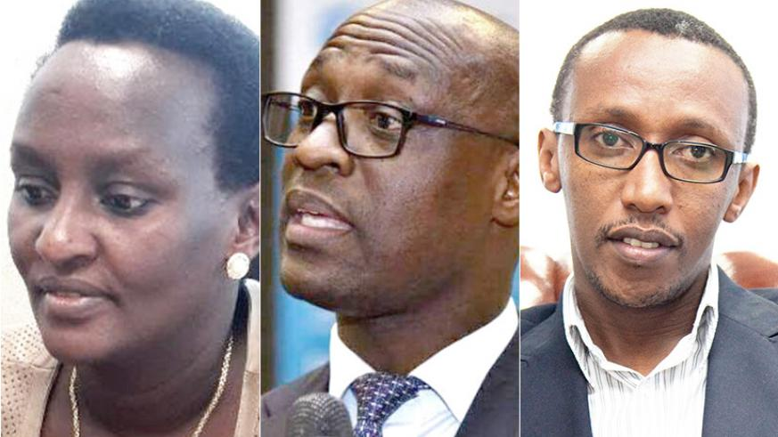 L-R: Fatina Mukarubibi is the Permanent Secretary in the Ministry of Environment; Aime Muzola takes over from James Sano as the new Director General of Water and Sanitation Authori....