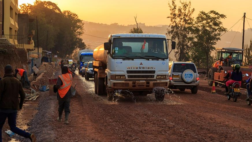 Road works on the road that connects Rwandex to Prince House in Kigali. Construction of Kigali city bypasses will be complete in nine months, creating alternative routes for motori....