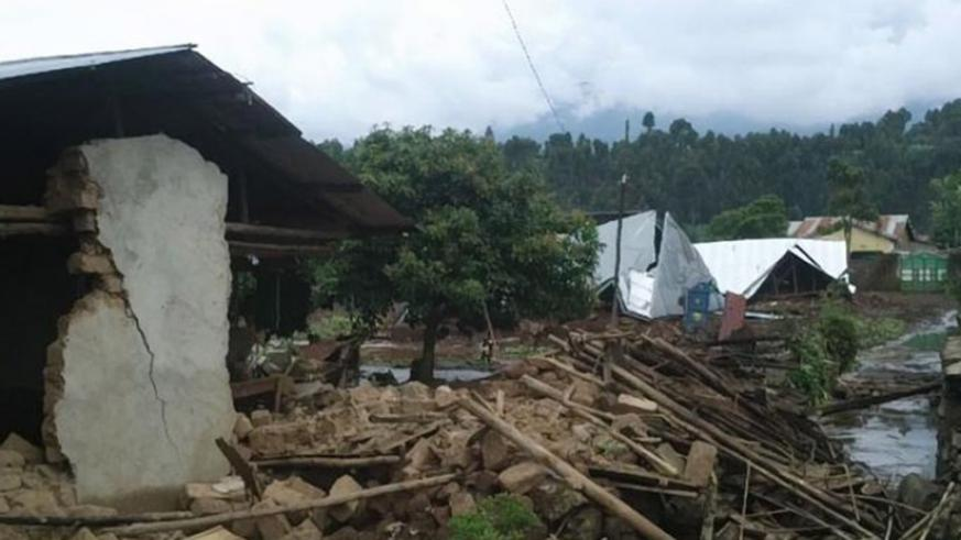 Homes destroyed by heavy rain in Musanze. The disaster response fund will ensure timely assistance. File.