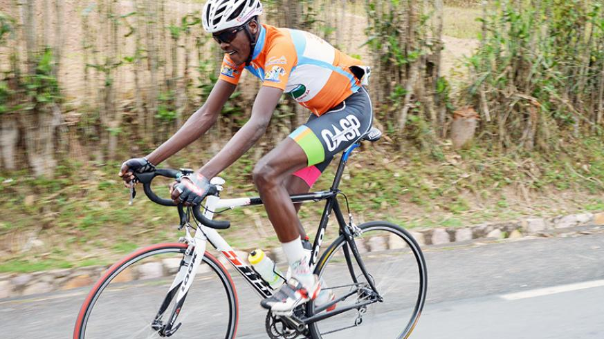Mathieu Twizerane of Cycling Club for All made a solo break away at Musambira on his way to winning the Central Challenge race on Saturday. / Sam Ngendahimana