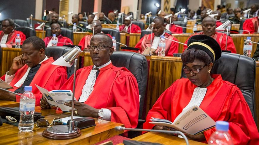Judges follow proceedings during the launch of the judicial year at parliament.file