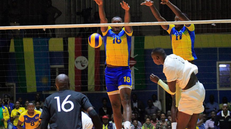 National men's volleyball team in action against Kenya during Zone V championship at Amahoro indoor Stadium in July. / Sam Ngendahimana