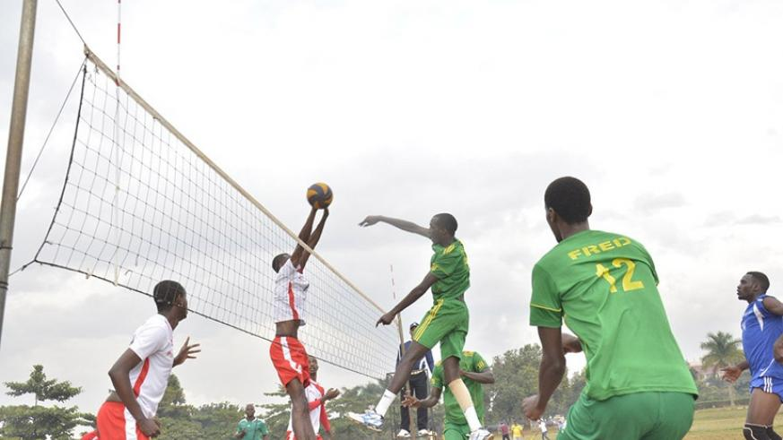 Kirehe Volleyball Club (in green) against REG during the regular season. They host Gisagara in Game 2 of the playoff finals today. / File