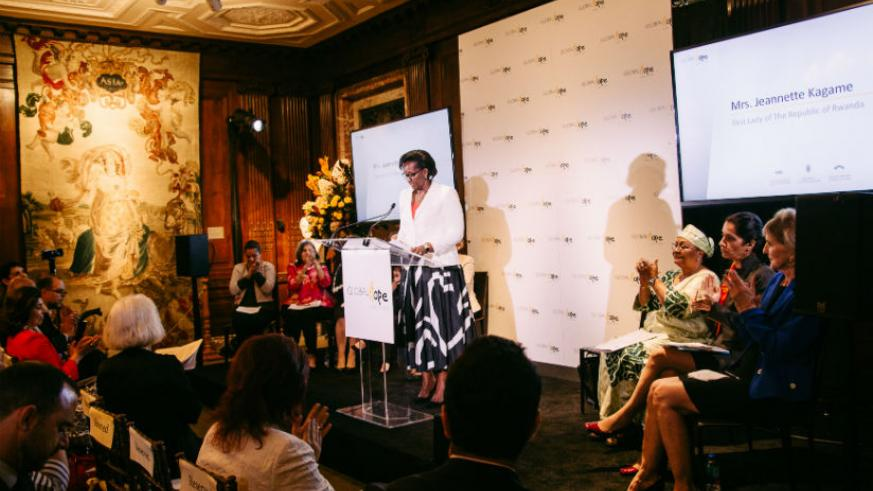 First Lady Jeannette Kagame speaking at the Global Hope Coalition event which was held on the margins of the 72nd United Nations General Assembly (UNGA). / Courtesy