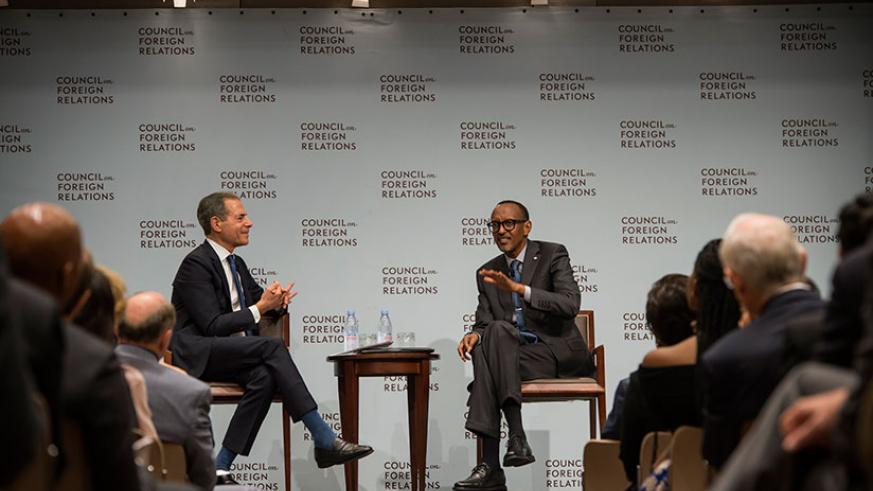 President Kagame speaks at the session hosted by the Council on Foreign Affairs in New York on Tuesday. Looking on, left, is Rick Stengel, an American author and journalist, who mo....