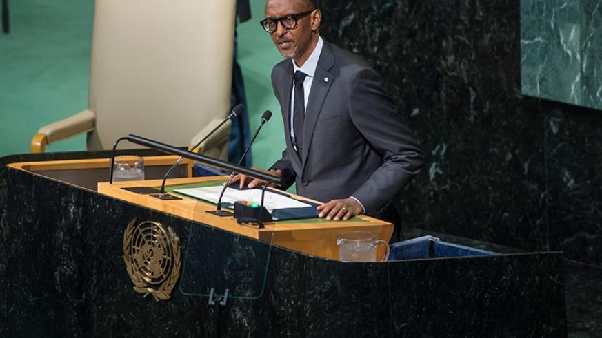 President Kagame addresses the UN General Assembly in New York, US, yesterday. (Village Urugwiro)