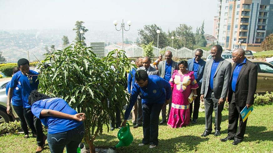 Speaker of the Chamber of Deputies Donatille Mukabalisa (C) waters a tree together with some youth representatives as other officials look on during the International Day of Peace ....