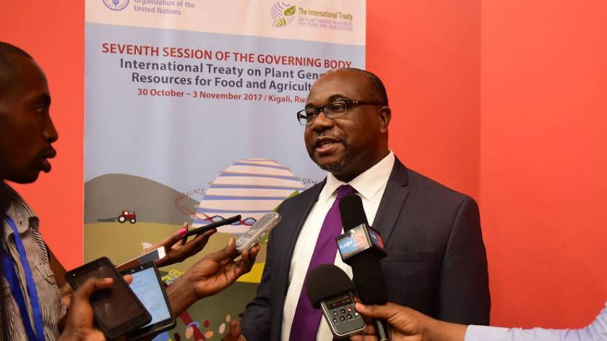 Kent Nnadozie, Acting Secretary of International Treaty on Plant Genetic Resources for Food and Agriculture, speaking to journalists during the regional workshop on plant genetic r....