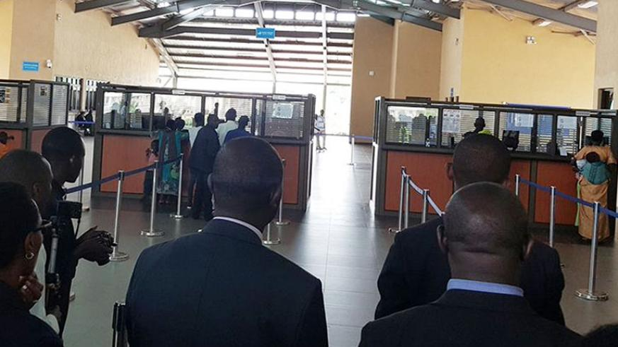 Travellers entering Rwanda clear with immigrations at the Kagitumba one stop border post. OSBPs have eased trade and travel. / Courtesy.