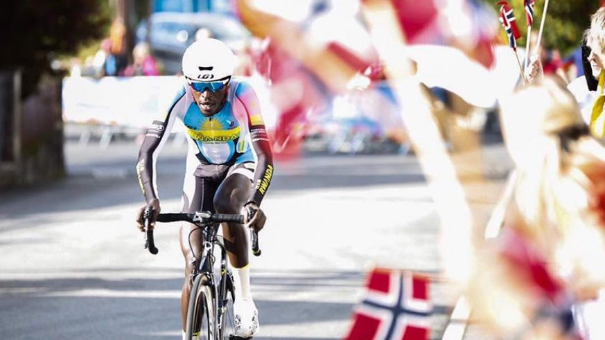 Valens Ndayisenga seen here on Wednesday afternoon in Elite Men's ITT race in Bergen, Norway, failed to finish the Road race on Sunday. (Net photo)