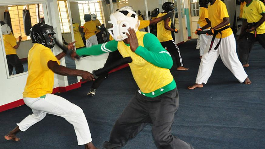 Players in action as the Rwanda Sports Chanbara Federation launched their activities on Sunday at Amahoro National Stadium. / D. Sikubwabo