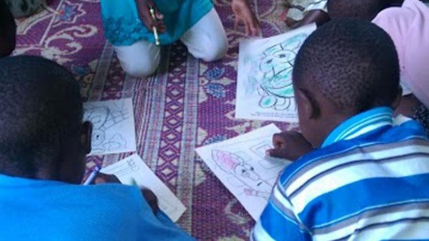 Pupils in a creative drawing class. It's good to be creative by trying out new things. (Dennis Agaba)