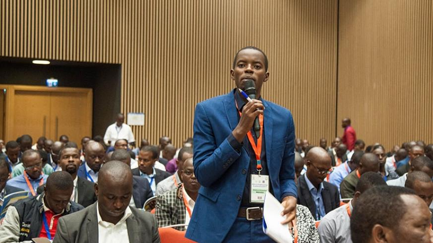 A participant contributes during the closing ceremony of the Africa Engineering Conference in Kigali yesterday. Nadege Imbabazi.