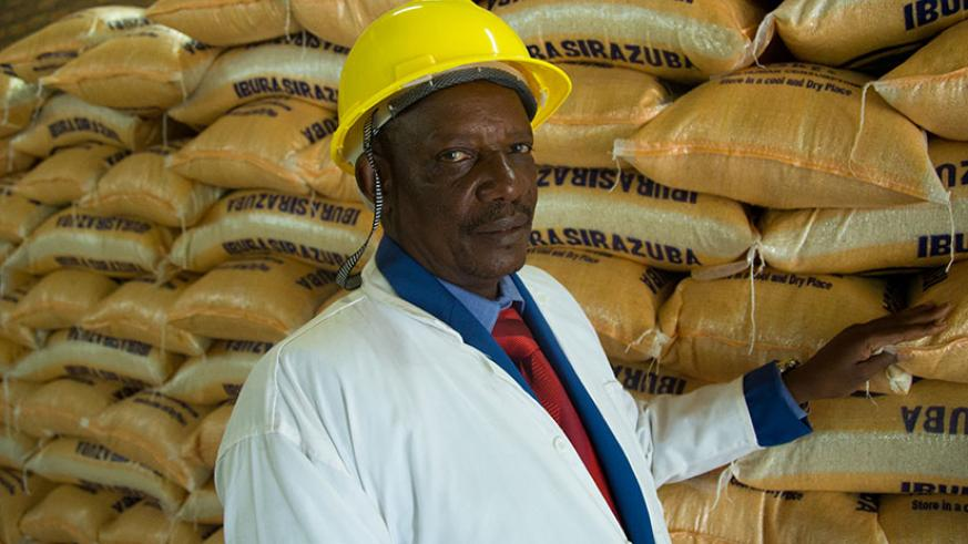 Nyagatare poses for a picture at the rice factory. / Timothy Kisambira