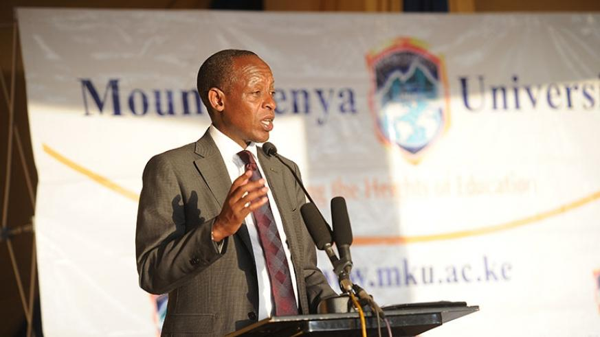 Amb James Kimonyo giving his remarks. He commended Mt. Kenya for introducing science courses.
