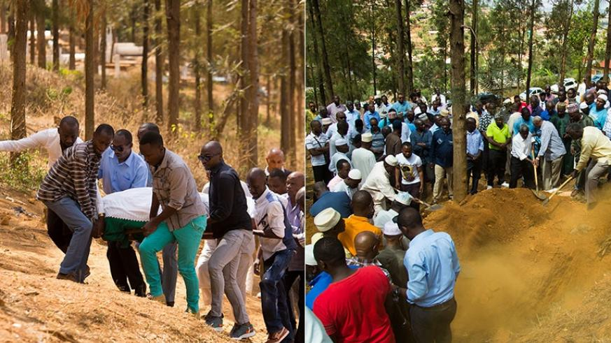 Left, relatives and friends carry the body of Amb. Sued ahead of lowering it into the grave. Right, the burial. / Timothy Kisambira