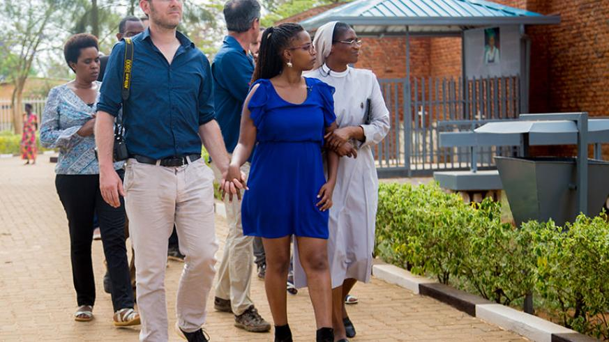 Jeanette Chiapello together with her husband Massino Ghersi during their visit to Nyamata Genocide Centre on Thursday. / Faustin Niyigena