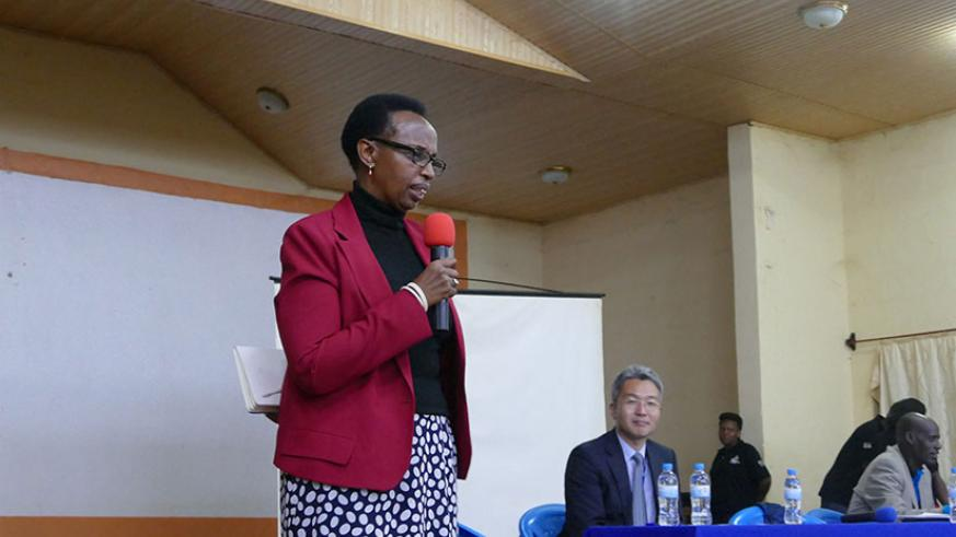 Dr Marie-Christine Gasingirwa, the Director General for Science, Technology and Research at the Ministry of Education speaking recently.