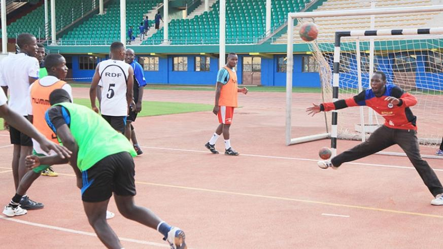 APR Handball players during an intensive training at Amahoro National Stadium. (Sam Ngendahimana)