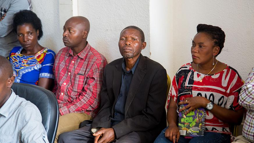 Majyambere (2nd R) with other witnesses who came to the commission to debunk claims by Human Rights Watch. Faustin Niyigena.