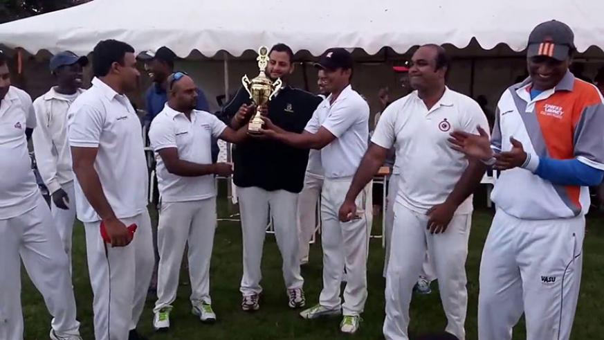Challengers captain Srinath (2nd right) leads his teammates in cerebration after winning V.R.Naidu Cricket Tournament last year. CCC are chasing a record 4th Computer Point T20 title. / File