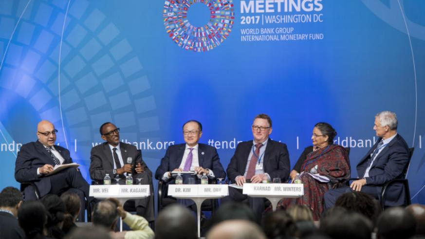 President Paul Kagame speaks at the session on maximizing finance for development at the World Bank Headquarters in Washington DC. / Village Urugwiro