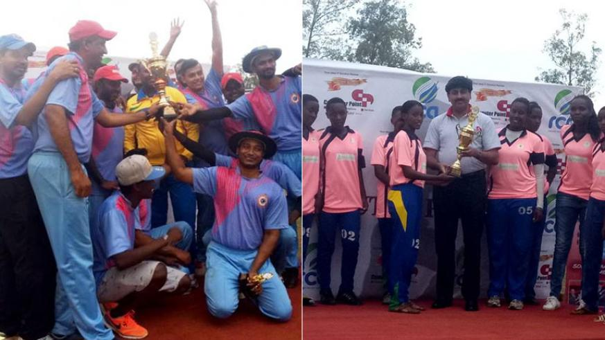 LEFT: Challengers' players celebrate after winning a record-extending fourth Computer Point T20 title following victory over Right Guards in final.   RIGHT: White Clouds beat Chari....