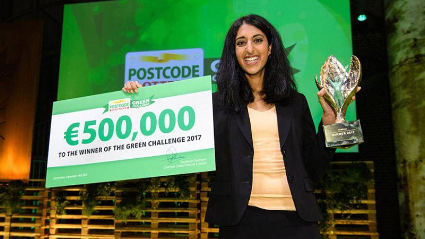 Datar after winning the Green Challenge 2017 for her healthy, eco-friendly and affordable floor. / Courtesy