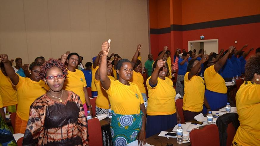 Rwanda Teachers' Union members at Kigali Convention Centre during the fourth congress.  (Courtesy photo)