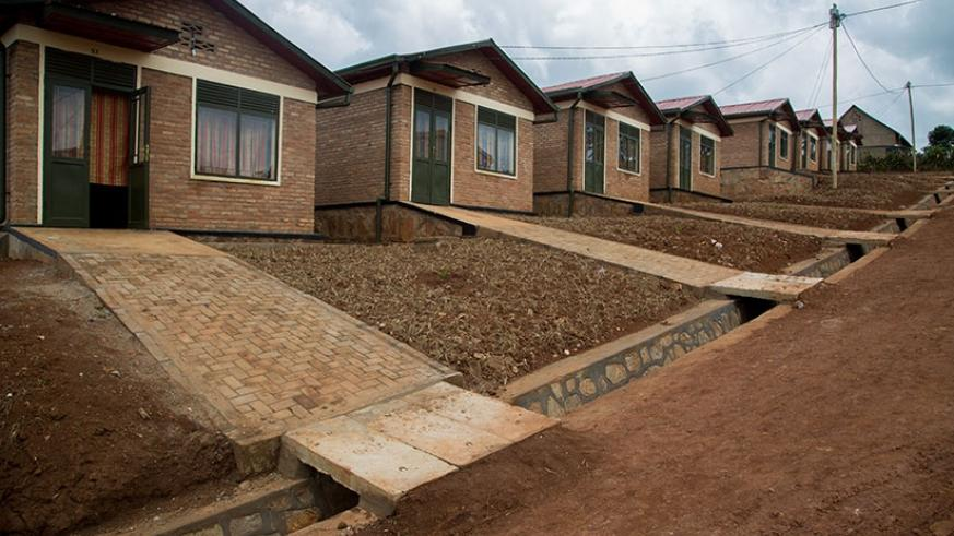 The front view of the housing units that make up Gikomero model village.  (Photos by Faustin Niyigena)