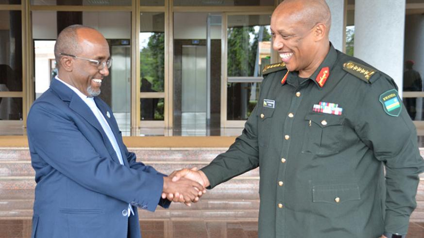 The Eastern Africa Standby Force (EASF) director, Dr Abdillahi Omar Bouh, is welcomed by the RDF Chief of Defence Staff, Gen Patrick Nyamvumba, at Rwanda Defence Force headquarters....