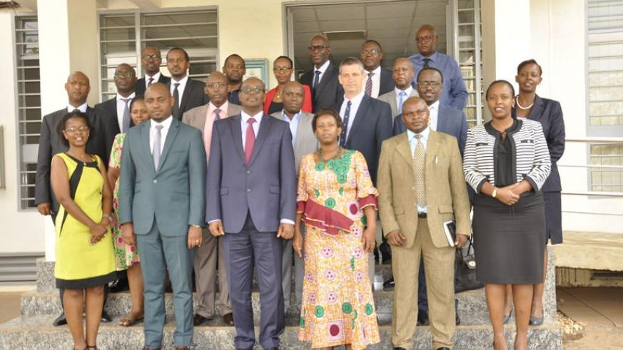 Minister of Infrastructure James Musoni (3rd from left) with heads of agencies after signing performance contracts with Claire Akamanzi, RDB CEO. / Courtesy