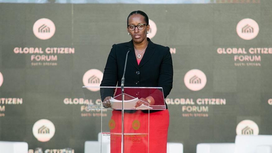 First Lady Jeannette Kagame delivers her remarks on unity and reconciliation, during Day One of the Global Citizen Forum in Montenegro yesterday. Courtesy.