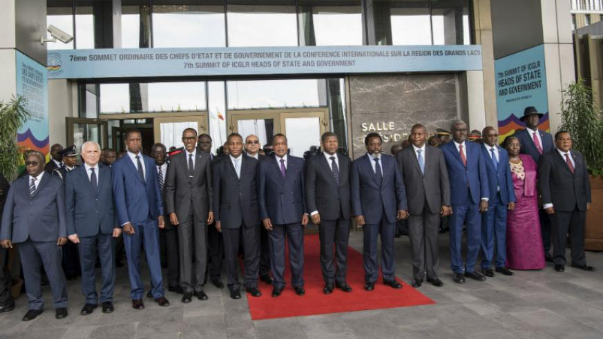 President Paul Kagame with the Heads of State at the summit in Brazzaville, yesterday. / Village Urugwiro