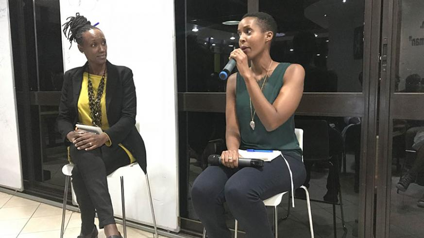 Isabelle Umugwaneza (right), the brains behind the platform, moderated the debate. / Courtesy