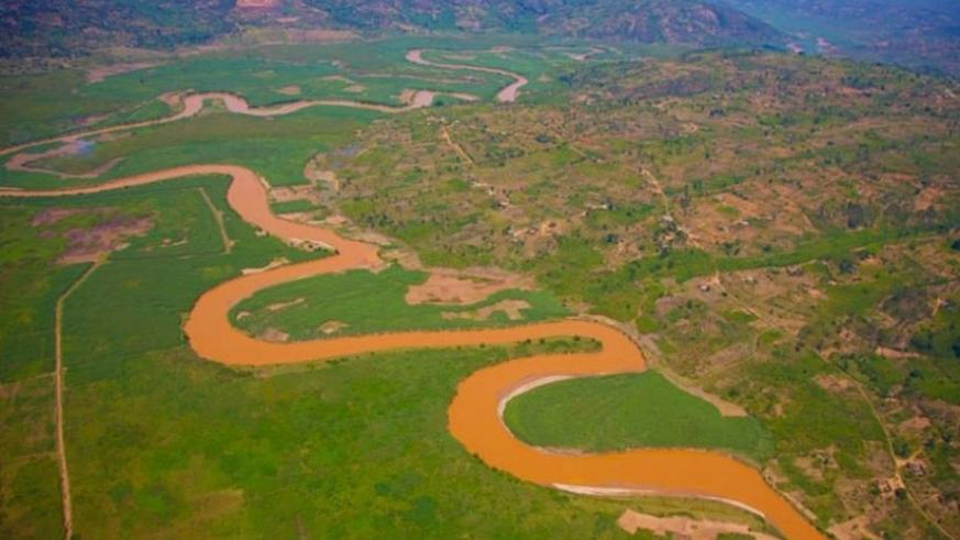 Aerial view of River-Nyabarongo that flows into River Nile. File.