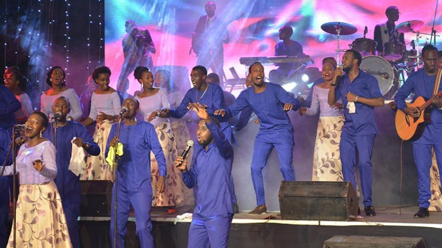 Alarm Ministries perform on stage during their concert at Dove hotel in Kigali, on Sunday. / All photos by Frederic Byumvuhore