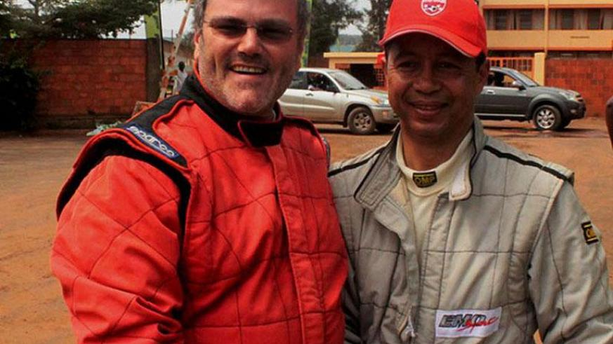 Giancarlo Davite (L) and Jean Yves, from Madagascar, after a previous rally. Giancarlo failed to finish Sunday's race after an accident. / Courtesy
