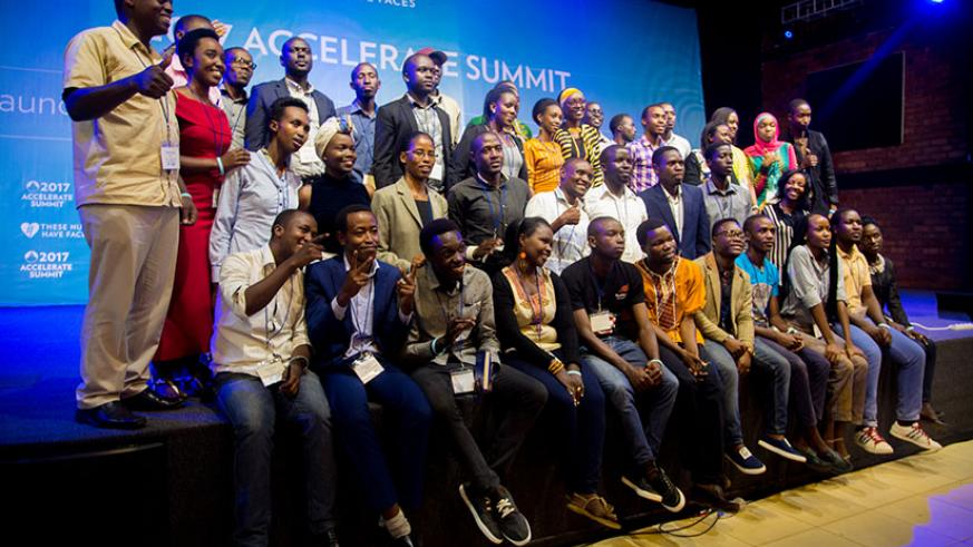 Some of the 2017 Accelerate Summit finalists pose for a group photo after the training by These Numbers Have Faces. / Faustin Niyigena
