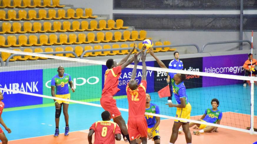 Rwanda (yellow and blue) overwhelmed Botswana to storm the quarter-finals of the 2017 Men's African Nations Championships in Egypt. / Courtesy