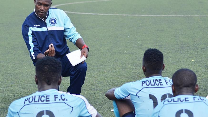 Police FC head coach Innocent Seninga gives instructions to his players during a previous league match. (Sam Ngendahimana)