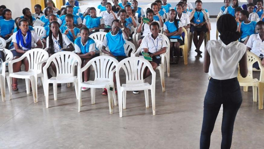 Ashimwe during her discussions with the students. (Courtesy photos)