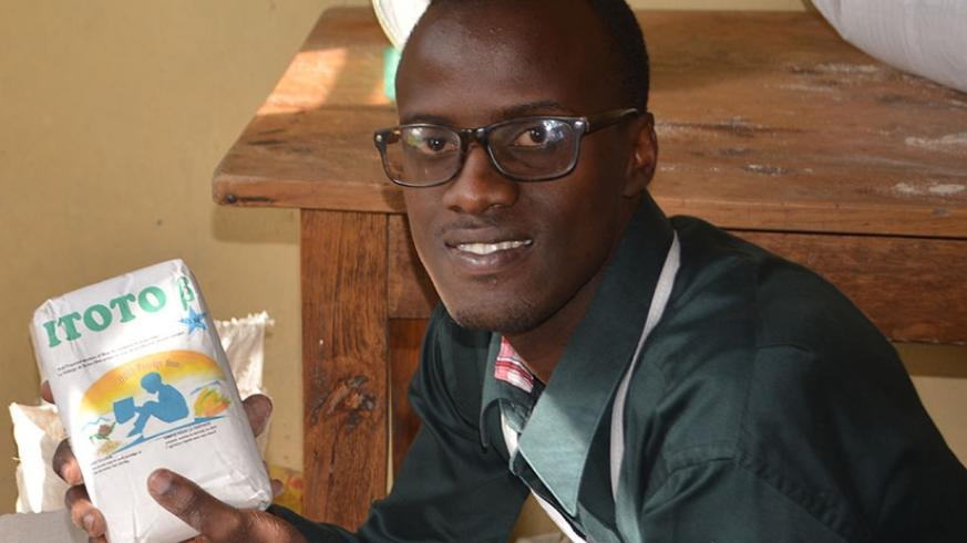Musanze-based Elyse Habumukiza makes fortified flour from vegetables. African innovators like him need support to expand their ventures.  (File)