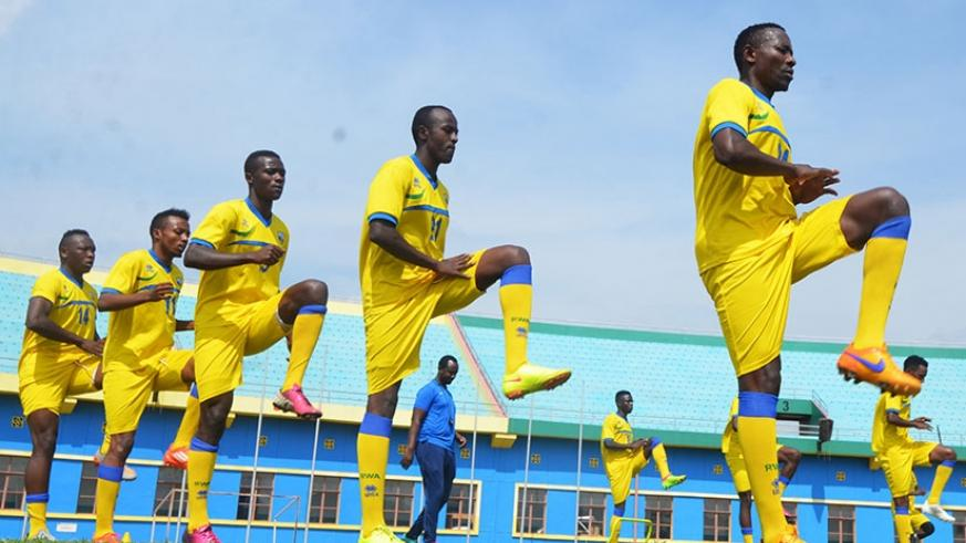 Amavubi players during a past training session at Amahoro stadium. Rwanda is among 11 teams that will take part in the Cecafa senior challenge cup. Sam Ngendahimana.