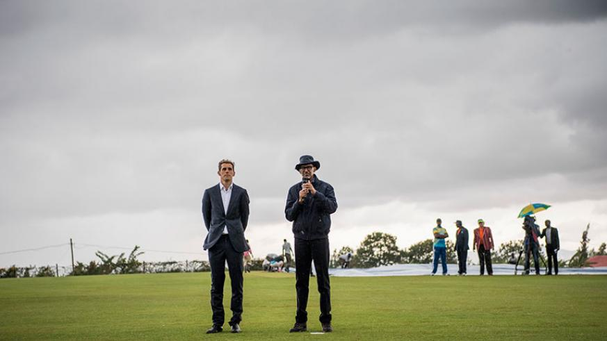 President Kagame with Alby Shale - Project Director of Rwanda Cricket Stadium Foundation (RSCF) at the official opening of the Gahanga Cricket Stadium. / Courtesy