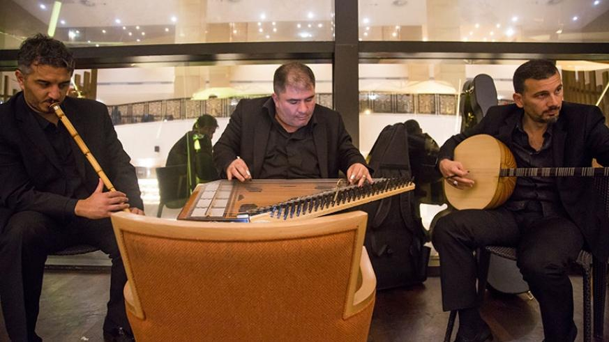 The trio entertains guests at the Turkish Food Festival at Kigali Marriott Hotel.  All photos by Timothy Kisambira