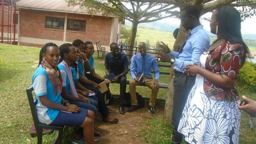 Mentors talk to  student leaders. Such students need support from teachers to help them nurture their skills. (Lydia Atieno)