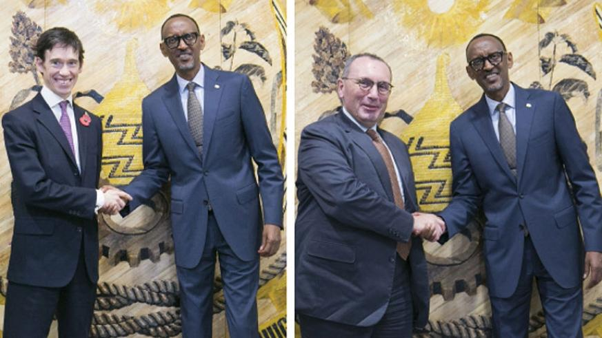President Kagame Tuesday met with visiting United Kingdom Minister for Africa, Rory Stewart (left). The President also met with European Union Director-General for International Co....